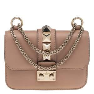 Valentino Beige Leather Mini Rockstud Glam Lock Shoulder Bag