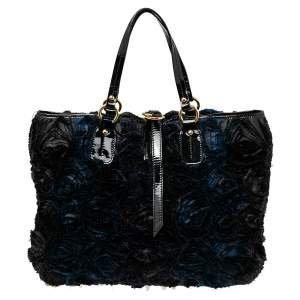 Valentino Navy Floral Applique Satin and Patent Leather Tote
