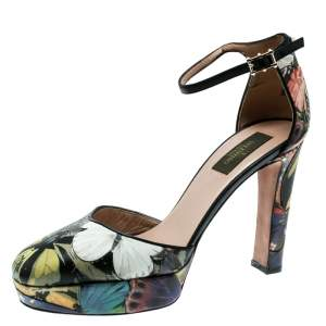 حذاء كعب عالي فالنتينو نعل سميك سيور كاحل فراشة جلد مطبوع متعدد الألوان مقاس 39