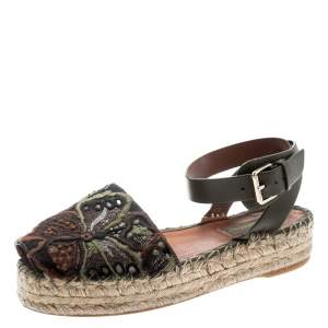 Valentino Olive Embroidered And Leather Ankle Strap Espadrille Sandals Size 36
