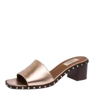 Valentino Poudre Leather Soul Rockstud Slide Mules Size 38