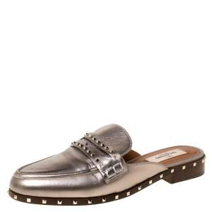 Valentino Metallic Bronze Leather Soul Rockstud Flat Mules Size 35