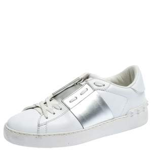 Valentino White/Metallic Silver Band Leather Open Low Top Sneakers Size 37.5