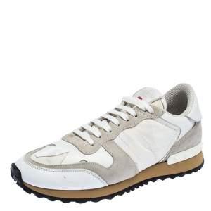 Valentino White/Grey Leather and Suede L'Amour Rockrunner Low Top Sneakers Size 37