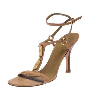 Valentino Beige Crystal Embellished Leather T Strap Sandals Size 38