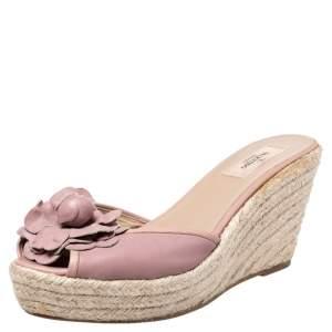Valentino Beige Leather Flower Applique Wedge Platform Sandals Size 41