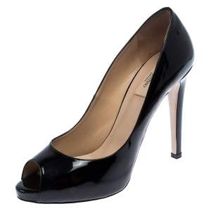 Valentino Black Patent Leather Peep Toe Platform Pumps Size 41
