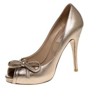 Valentino Metallic Gold Leather Bow Peep Toe Platform Pumps Size 38