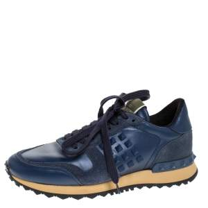 Valentino Blue Leather And Suede Rockrunner Low Top Sneakers Size 36