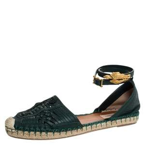 Valentino Green Leather Espadrilles  Ankle Wrap Flat Sandals Size 40