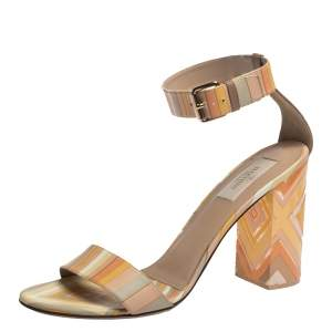 Valentino Multicolor Native Couture 1975 Print Leather and Plexiglass Heel Sandals Size 39