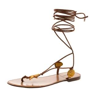 Valentino Brown Braided Leather Abyss Seashell Lace Up Flat Sandals Size 36