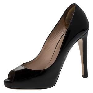 Valentino Black Patent Leather Peep Toe Platform Pumps Size 36