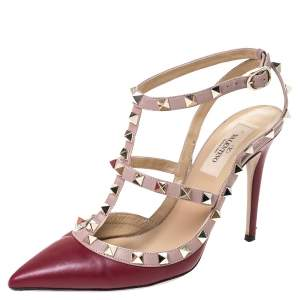 Valentino Red Leather Studded Strappy Pointed Toe Sandals Size 37