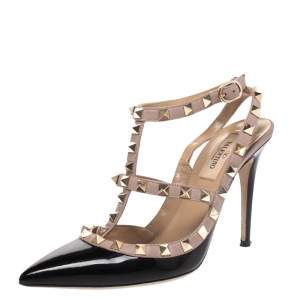 Valentino Black/Beige Patent Leather and Leather Rockstud Ankle Strap Sandals Size 37