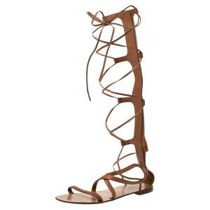 Valentino Tan Leather Knee High Gladiator Flat Sandals Size 37