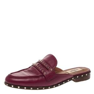 Valentino Burgundy Leather Soul Rockstud Flat Mules Size 37