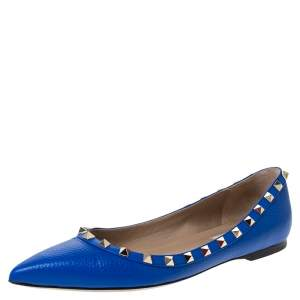 Valentino Blue Leather Rockstud Pointed Toe Ballet Flats Size 39