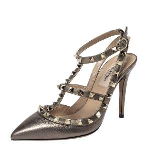 Valentino Metallic Bronze Leather Rockstud Ankle Strap Sandals Size 36