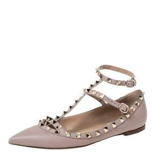Valentino Beige Leather Rockstud Pointed Toe Ankle Strap Ballet Flats Size 37.5