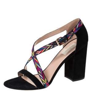 Valentino Multicolor Suede Native Block Heel Sandals Size 40.5
