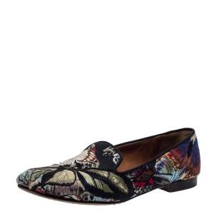 Valentino Black Embroidered Canvas Smoking Slippers Size 38