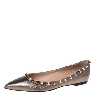 Valentino Metallic Bronze Leather Rockstud Pointed Toe Ballet Flats Size 37