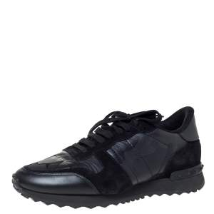 Valentino Black Camouflage Leather and Suede Rockrunner Sneakers Size 40.5