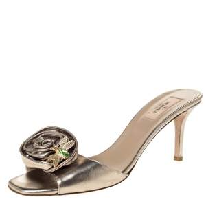 Valentino Metallic Leather Rose Applique Open Toe Sandals Size 41