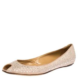 Valentino Pink Embellished Glitter Fabric Peep Toe Ballet Flats Size 39