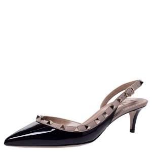 Valentino Black Patent Leather Rockstud Slingback Sandals Size 39