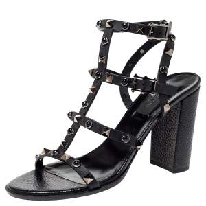 Valentino Black Leather Rolling Rockstud Sandals Size 38