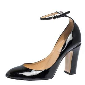 Valentino Black Patent Leather Tango Ankle Strap Pumps Size 39.5