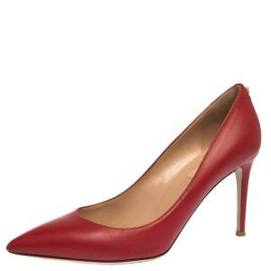 Valentino Red Leather Studded Pointed Toe Pumps Size 39.5