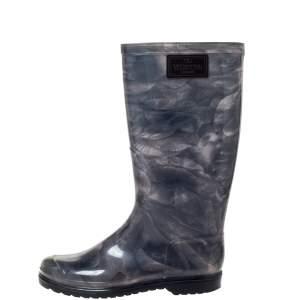Valentino Grey Rose Print Rubber Rain Boot Size 38