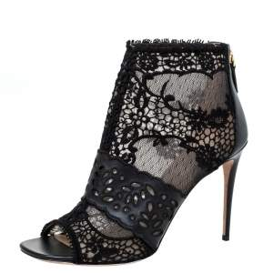Valentino Black Leather and Lace Fusion Ankle Booties Size 38