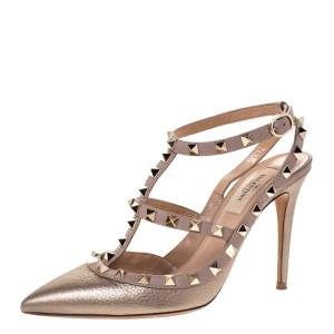 Valentino Metallic Bronze Leather Rockstud Ankle Strap Pointed Toe Sandals Size 37.5