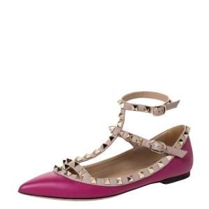 Valentino Dark Magenta Leather Rockstud Cage Ballet Flats Size 36