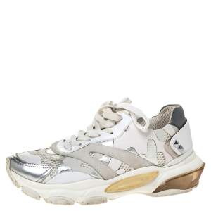 Valentino White/Silver Camouflage Leather And Mesh Bounce Sneakers Size 37.5