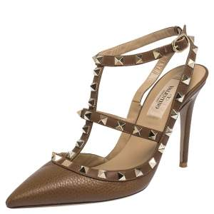 Valentino Brown Leather Rockstud Pointed Toe Sandals Size 36.5