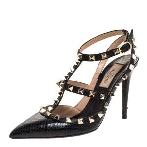 Valentino Black Snakeskin and Leather Rockstud Pumps Size 36
