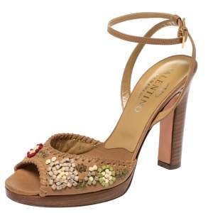 Valentino Tan Floral Applique Leather Wooden Heel Ankle Strap Sandals Size 35