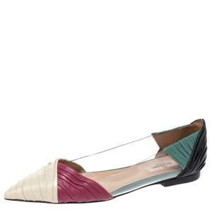 Valentino Multicolor Leather and PVC B Drape Pointed Toe Ballet Flats Size 37