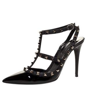 Valentino Noir Black Patent Leather Rockstud Strappy Sandals Size 40