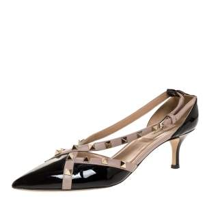 Valentino Black/Beige Patent And Leather Studded Crisscross D'orsay Pumps Size 39