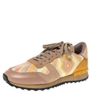 Valentino Multicolor Native Couture Leather And Suede Rockrunner Low Top Sneakers Size 37.5