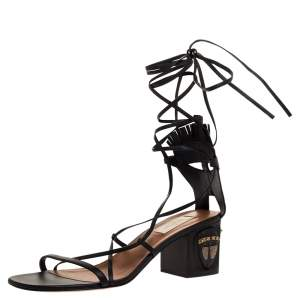 Valentino Black Leather Tribal Mask Block Heel Gladiator Lace Up Sandals Size 41
