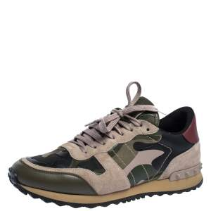 Valentino Multicolor Camo Suede And Leather Rockrunner Sneakers Size 40.5
