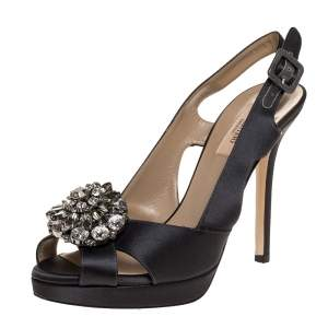 Valentino Dark Grey Satin Crystal Embellished Platform Slingback Sandals Size 37