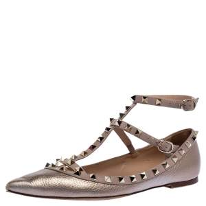 Valentino Metallic Bronze Leather Rockstud Ballet Flats Size 39.5